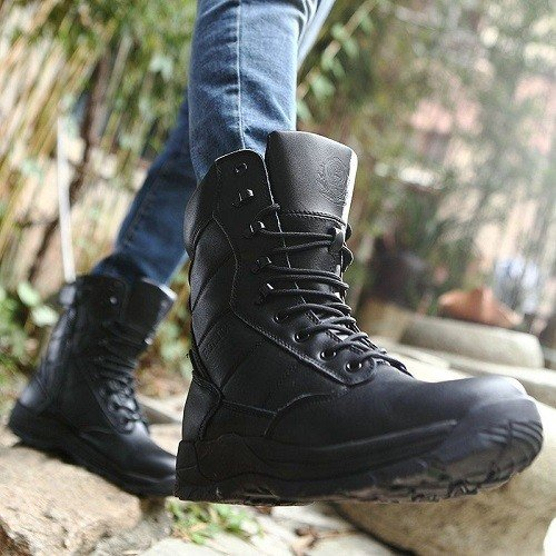 Walking in tactical boots.